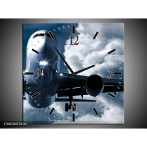 Wandklok op Canvas Vliegtuig   Kleur: Blauw, Grijs, Wit   F000580C