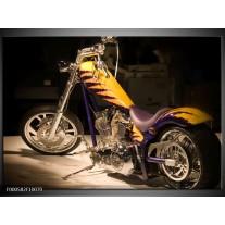 Foto canvas schilderij Motor | Geel, Paars, Zwart
