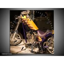 Wandklok op Canvas Motor | Kleur: Geel, Paars, Zwart | F000582C