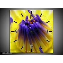 Wandklok op Canvas Bloem | Kleur: Paars, Geel, Wit | F000590C
