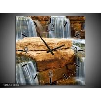 Wandklok op Canvas Waterval | Kleur: Grijs, Bruin, Wit | F000594C