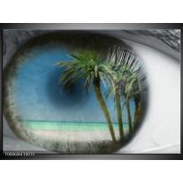 Foto canvas schilderij Strand   Groen, Grijs, Blauw