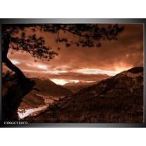 Foto canvas schilderij Bergen | Zwart, Bruin, Wit
