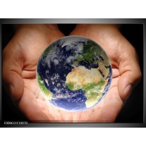 Foto canvas schilderij Wereld | Blauw, Groen, Geel