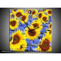 Wandklok op Canvas Zonnebloem   Kleur: Geel, Blauw, Bruin   F000619C