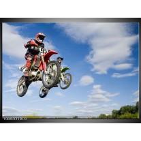 Foto canvas schilderij Motor | Blauw, Rood, Wit