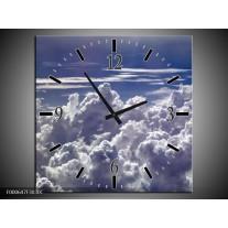 Wandklok op Canvas Wolken | Kleur: Wit, Blauw | F000647C