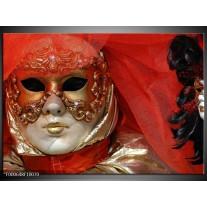 Foto canvas schilderij Masker | Rood, Goud, Zwart