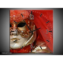 Wandklok op Canvas Masker | Kleur: Rood, Goud, Zwart | F000648C