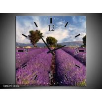 Wandklok op Canvas Lavendel | Kleur: Paars, Blauw, Wit | F000649C