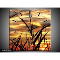 Wandklok op Canvas Zonsondergang | Kleur: Zwart, Grijs, Geel | F000651C