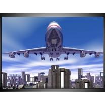 Foto canvas schilderij Vliegtuig | Blauw, Wit, Grijs