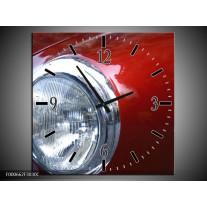Wandklok op Canvas Lamp | Kleur: Rood, Zilver, Wit | F000662C