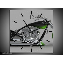 Wandklok op Canvas Motor | Kleur: Groen, Grijs, Zwart | F000670C