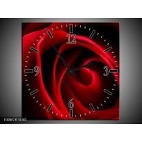 Wandklok op Canvas Roos | Kleur: Rood, Zwart | F000671C