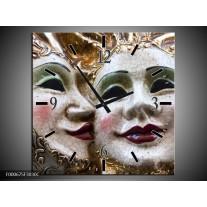 Wandklok op Canvas Masker | Kleur: Wit, Goud, Zwart | F000675C
