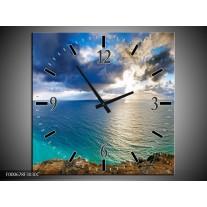 Wandklok op Canvas Zee | Kleur: Blauw, Wit, Grijs | F000678C