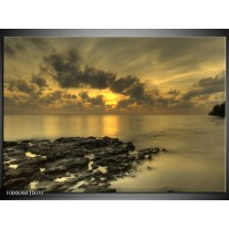 Foto canvas schilderij Zee | Geel, Grijs, Zwart