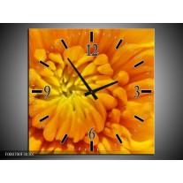 Wandklok op Canvas Bloem | Kleur: Oranje, Wit, Geel | F000700C