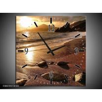 Wandklok op Canvas Zonsondergang | Kleur: Bruin, Geel, Wit | F000701C