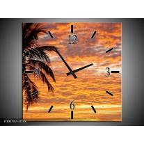 Wandklok op Canvas Zonsondergang   Kleur: Geel, Zwart, Oranje   F000702C