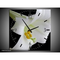 Wandklok op Canvas Bloem | Kleur: Wit, Zwart, Geel | F000703C