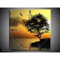 Wandklok op Canvas Zonsondergang | Kleur: Zwart, Geel, Grijs | F000705C