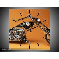 Wandklok op Canvas Motor | Kleur: Oranje, Bruin, Zwart | F000706C
