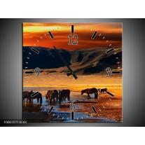 Wandklok op Canvas Paarden | Kleur: Oranje, Rood, Blauw | F000707C