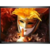 Foto canvas schilderij Masker   Geel, Oranje, Wit