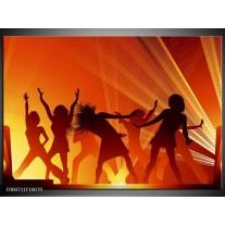 Glas schilderij Dansen   Rood, Zwart, Geel