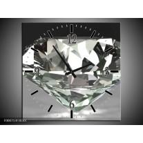 Wandklok op Canvas Diamant | Kleur: Grijs, Zilver, Wit | F000713C