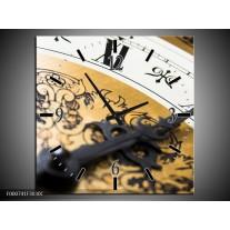 Wandklok op Canvas Klok | Kleur: Bruin, Goud, Wit | F000741C