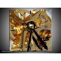 Wandklok op Canvas Klok | Kleur: Bruin, Goud, Wit | F000743C