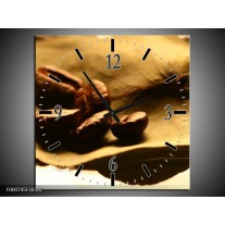 Wandklok op Canvas Koffie   Kleur: Bruin, Zwart, Wit   F000745C
