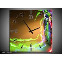 Wandklok op Canvas Abstract   Kleur: Groen, Bruin, Rood   F000757C
