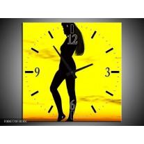 Wandklok op Canvas Vrouw | Kleur: Geel, Zwart | F000774C