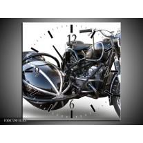 Wandklok op Canvas Motor | Kleur: Grijs, Zwart, Wit | F000778C