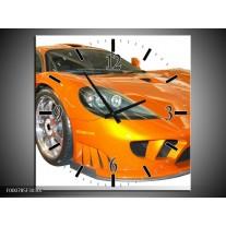 Wandklok op Canvas Auto | Kleur: Geel, Oranje, Wit | F000785C