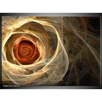 Foto canvas schilderij Roos | Geel, Oranje, Bruin