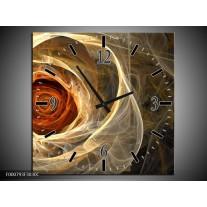 Wandklok op Canvas Roos | Kleur: Geel, Oranje, Bruin | F000793C