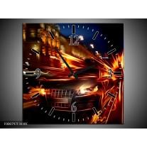 Wandklok op Canvas Auto | Kleur: Rood, Oranje, Zwart | F000797C