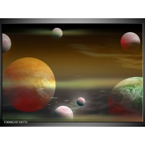 Foto canvas schilderij Planeet | Geel, Groen, Grijs