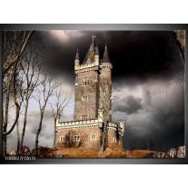 Foto canvas schilderij Kasteel   Grijs, Zwart, Wit