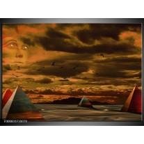 Foto canvas schilderij Piramide | Grijs, Geel, Bruin