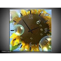 Wandklok op Canvas Zonnebloem | Kleur: Geel, Bruin, Blauw | F000837C