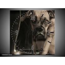 Wandklok op Canvas Hond | Kleur: Grijs, Zwart, Wit | F000840C