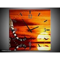Wandklok op Canvas Tijger | Kleur: Bruin, Oranje, Rood | F000859C