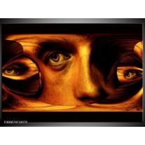 Foto canvas schilderij Gezicht   Bruin, Geel, Zwart