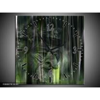 Wandklok op Canvas Abstract | Kleur: Groen, Zilver, Wit | F000879C